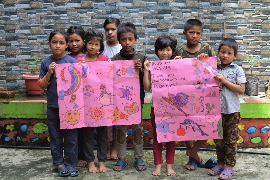 Basic supplies of food, medicine and clothing delivered to the children at  Phokhara orphanage in Nepal