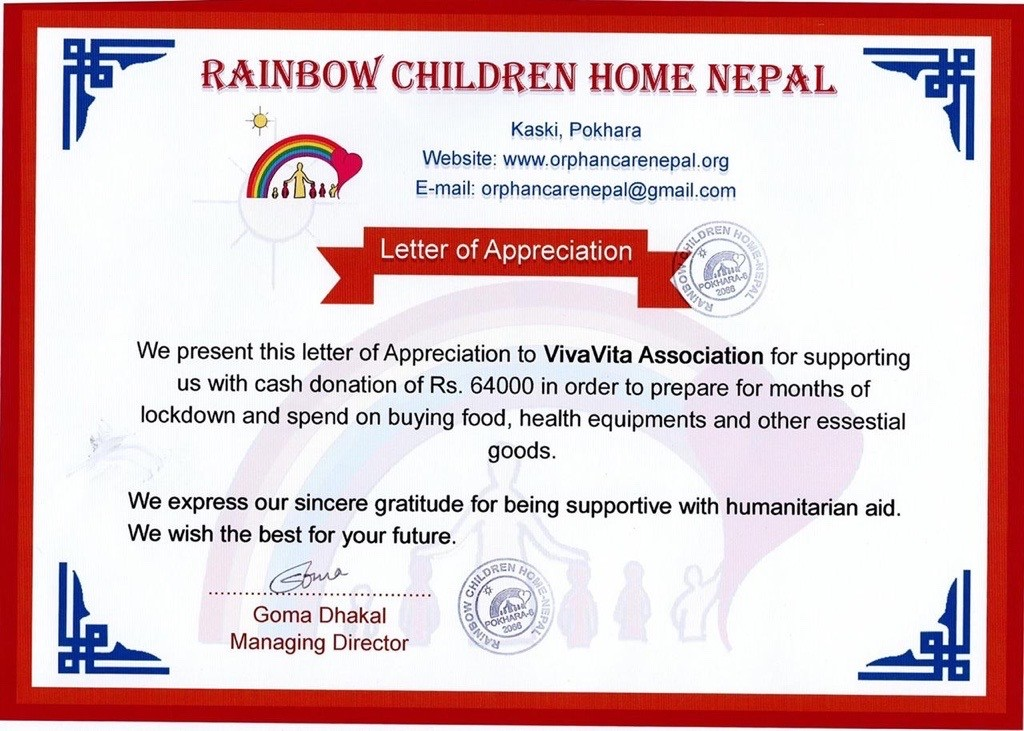 Letter of Appreciation from the Rainbow Children Home Nepal